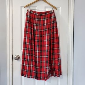 Vintage red and black plaid pleated maxi skirt